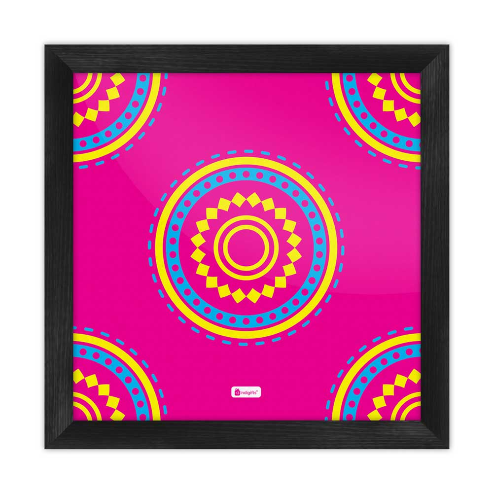 Indigifts Decorative Colorful Round Mandala Print Pink Poster Frame