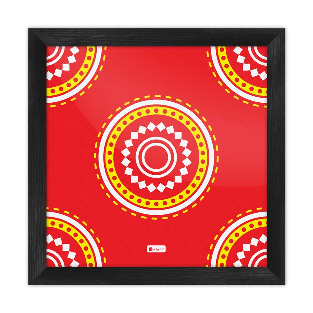 Indigifts Decorative Colorful Round Mandala Print Red Poster Frame