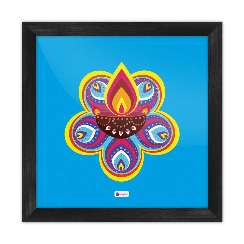 Indigifts Traditional Ornate Flower Pattern Rangoli with Illuminated Diya Design Blue Poster Frame