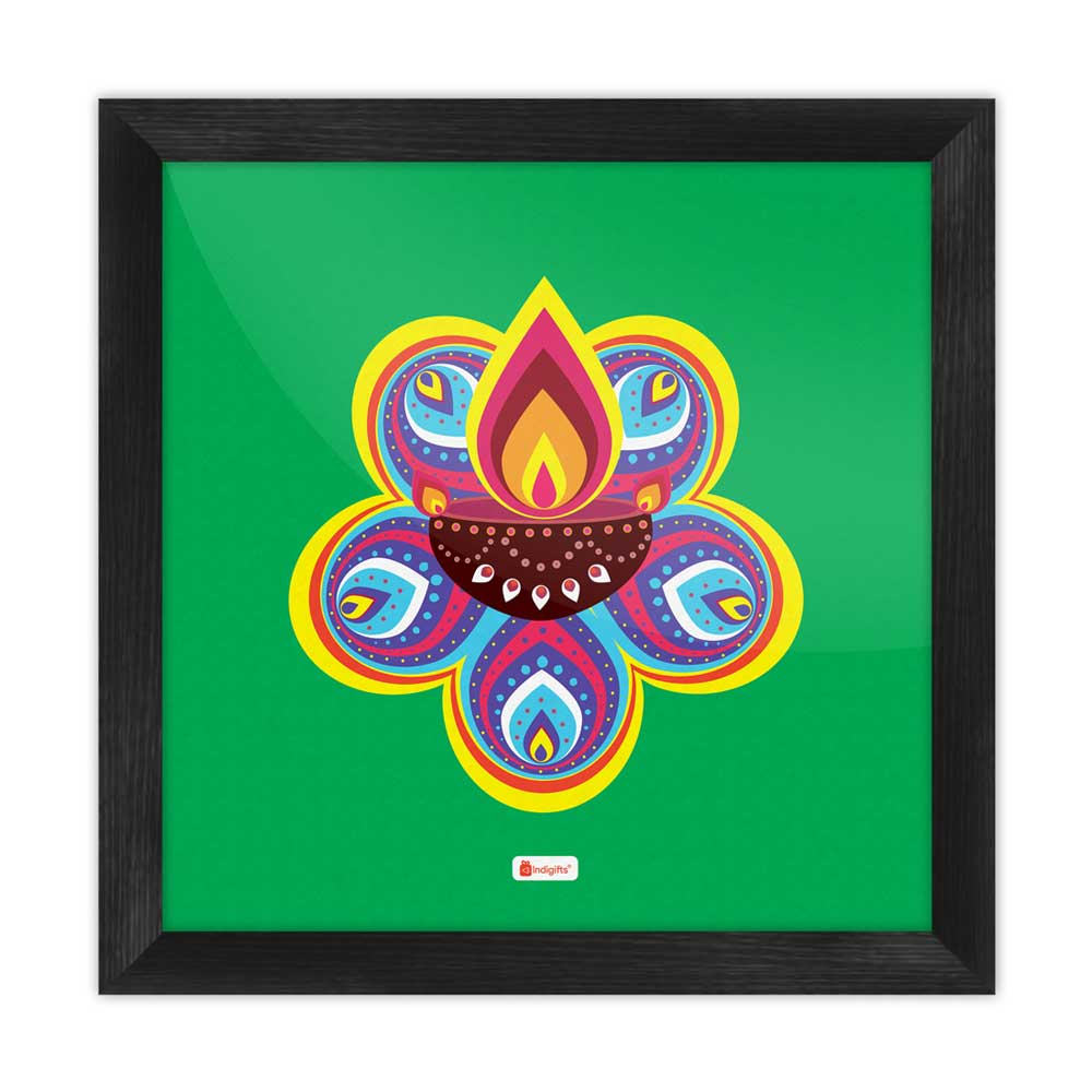 Indigifts Traditional Ornate Flower Pattern Rangoli with Illuminated Diya Design Green Poster Frame
