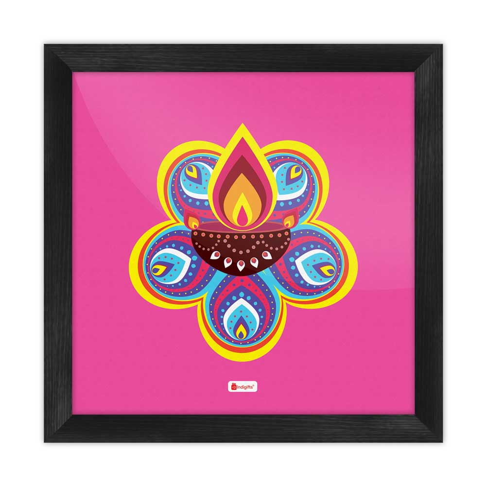 Traditional Ornate Flower Pattern Rangoli with Illuminated Diya Design Pink Poster Frame