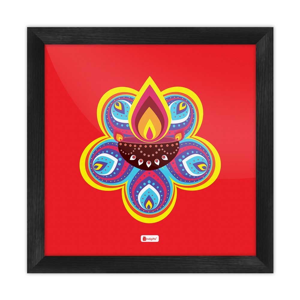 Traditional Ornate Flower Pattern Rangoli with Illuminated Diya Design Red Poster Frame