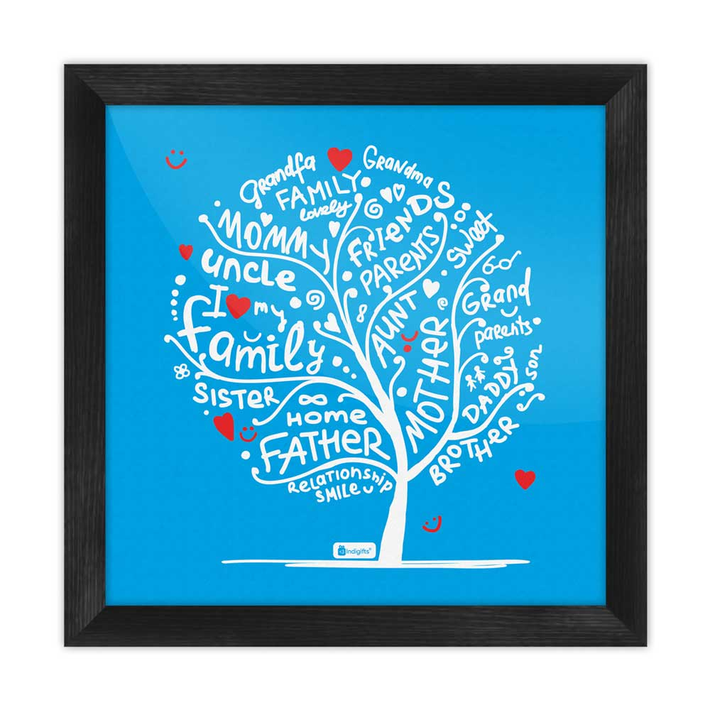 Indigifts Illustration of Family Love Tree Design Blue Poster Frame