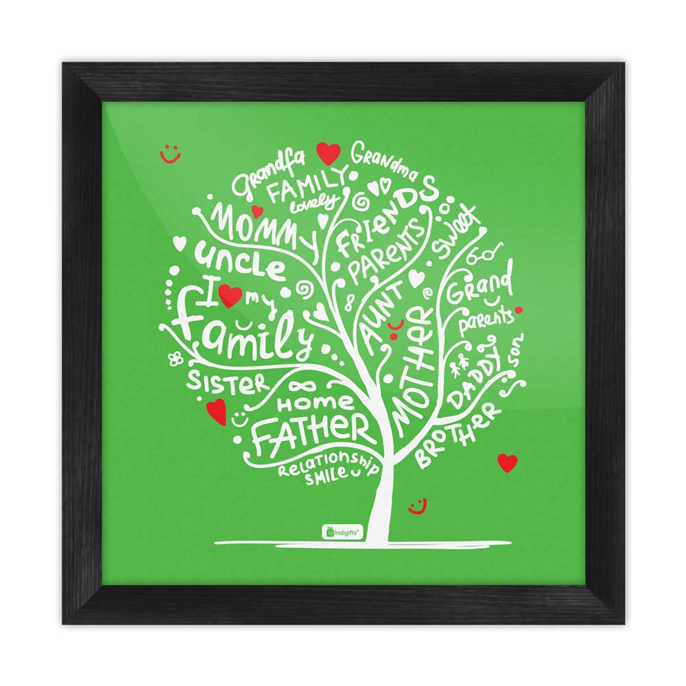 Indigifts Illustration of Family Love Tree Design Green Poster Frame