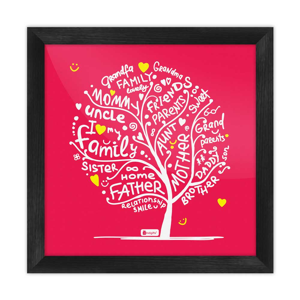 Indigifts Illustration of Family Love Tree Design Red Poster Frame