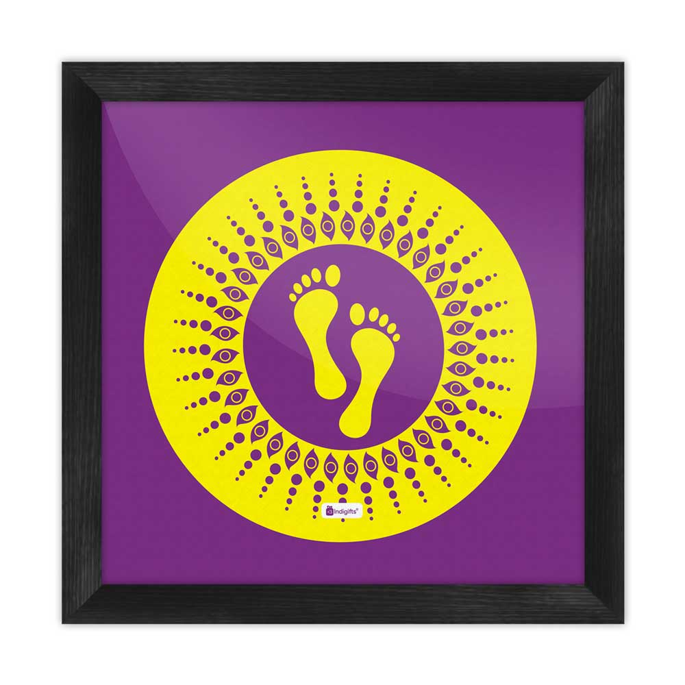 Footsteps Of The Goddess Of Wealth Laxmi purple Poster Frame
