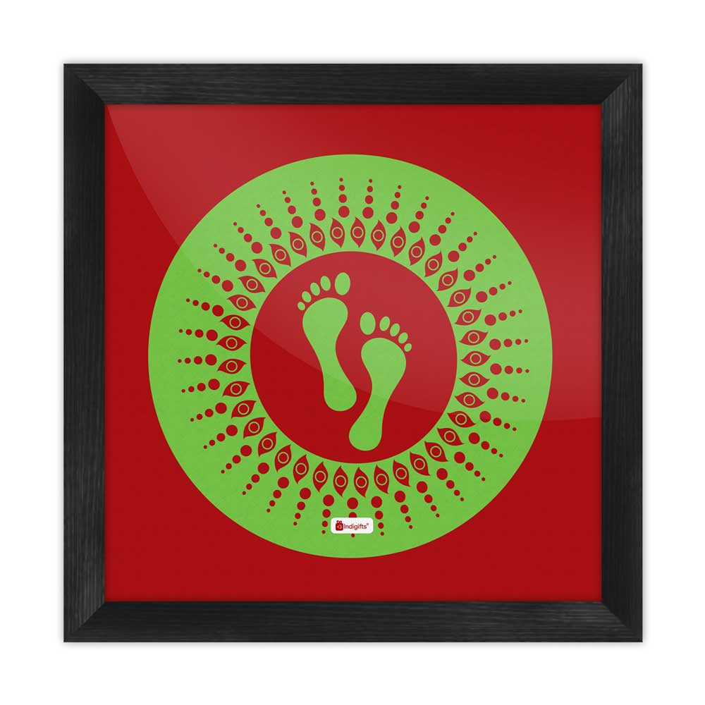 Indigifts Footsteps Of The Goddess Of Wealth Laxmi Brown Poster Frame