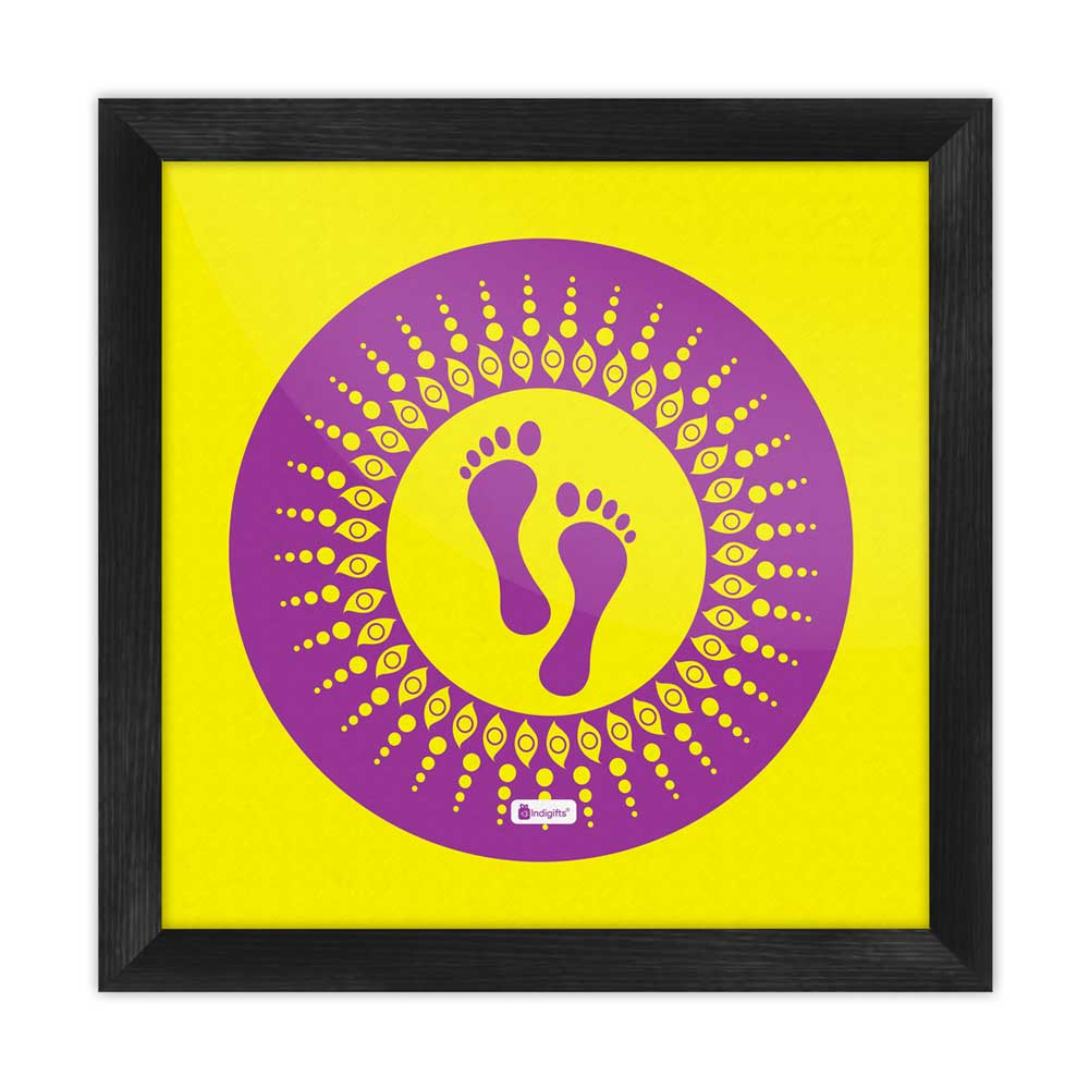 Footsteps Of The Goddess Of Wealth Laxmi Yellow Poster Frame