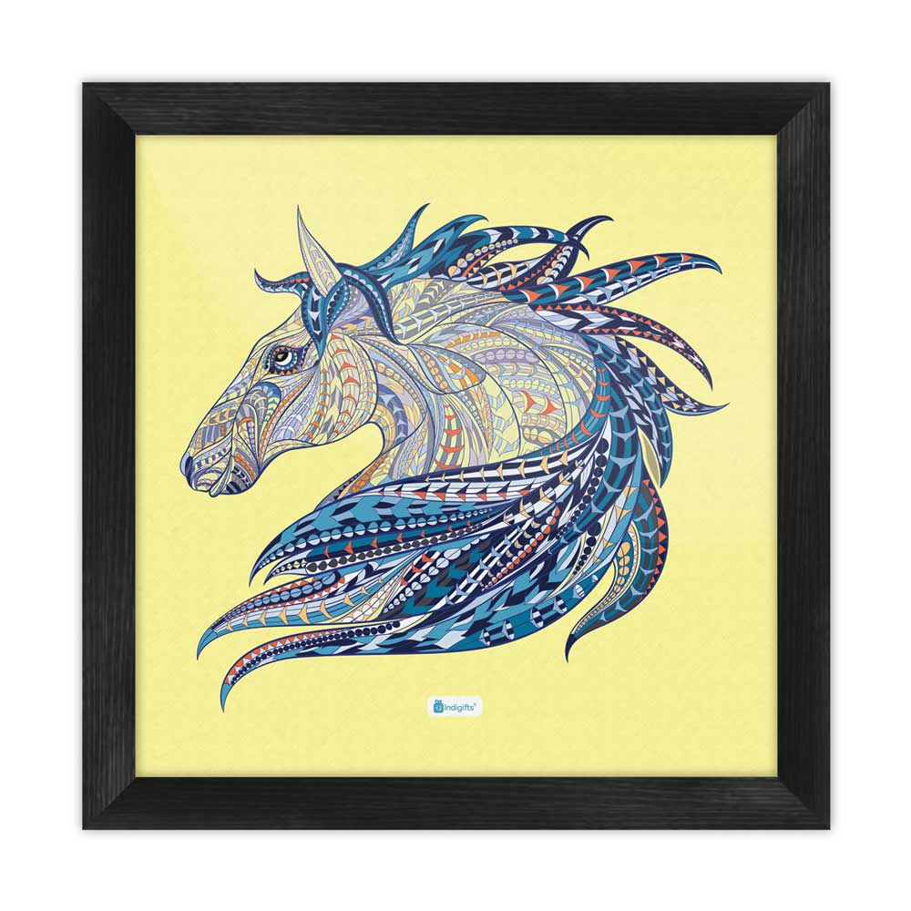 Indigifts Illustration of Ethnic Patterned Unicorn's Head in the Zentangle Style Cream Poster Frame