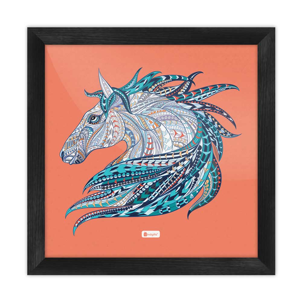 Indigifts Illustration of Ethnic Patterned Unicorn's Head in the Zentangle Style Orange Poster Frame