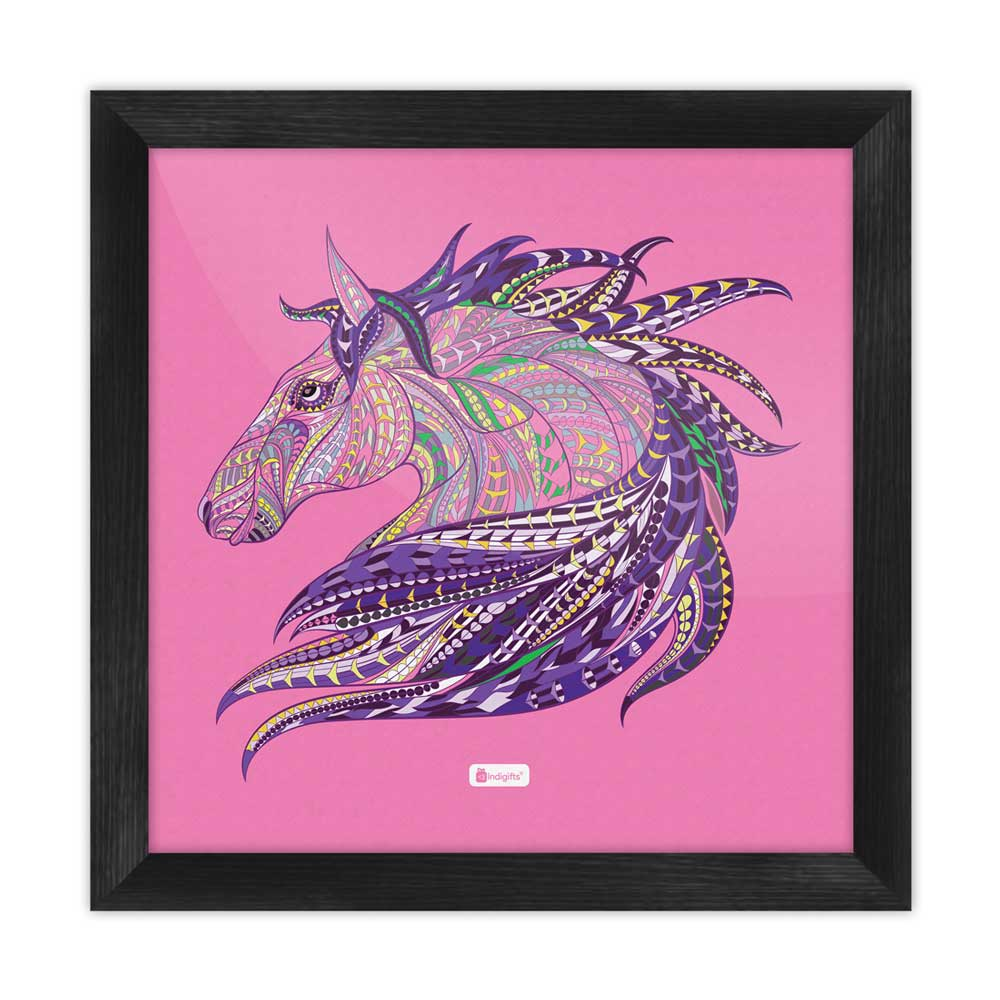 Indigifts Illustration of Ethnic Patterned Unicorn's Head in the Zentangle Style Pink Poster Frame