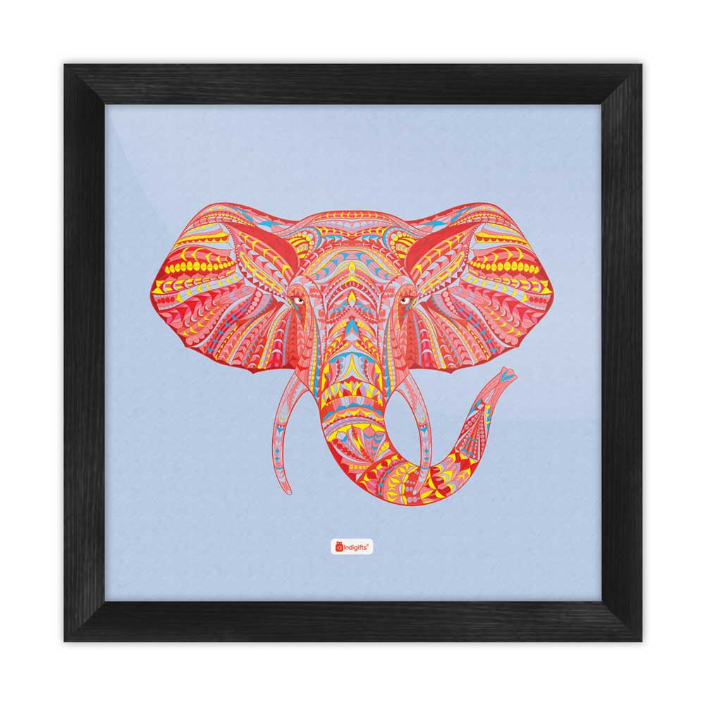 Indigifts Illustration of Ornamental Elephant's Face Zendoodles Print Blue Poster Frame
