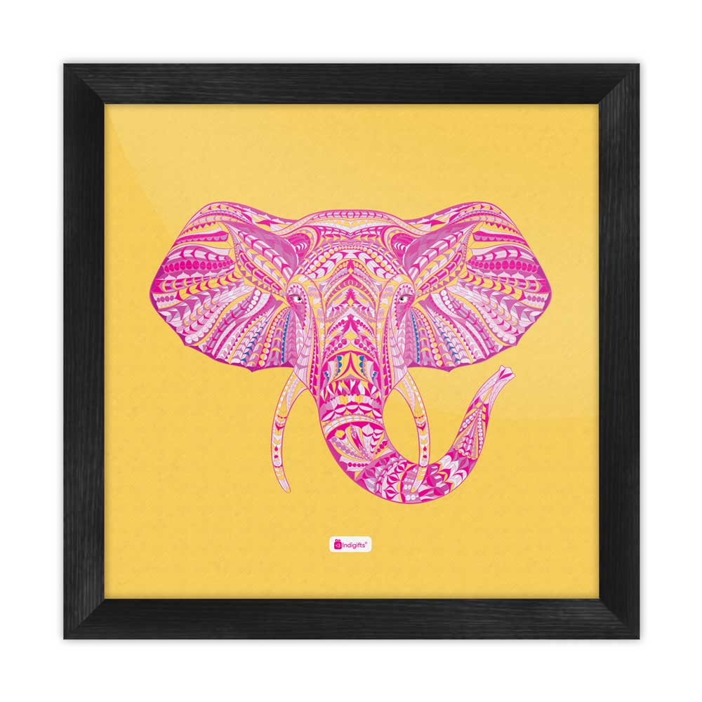Indigifts Illustration of Ornamental Elephant's Face Zendoodles Print Yellow Poster Frame