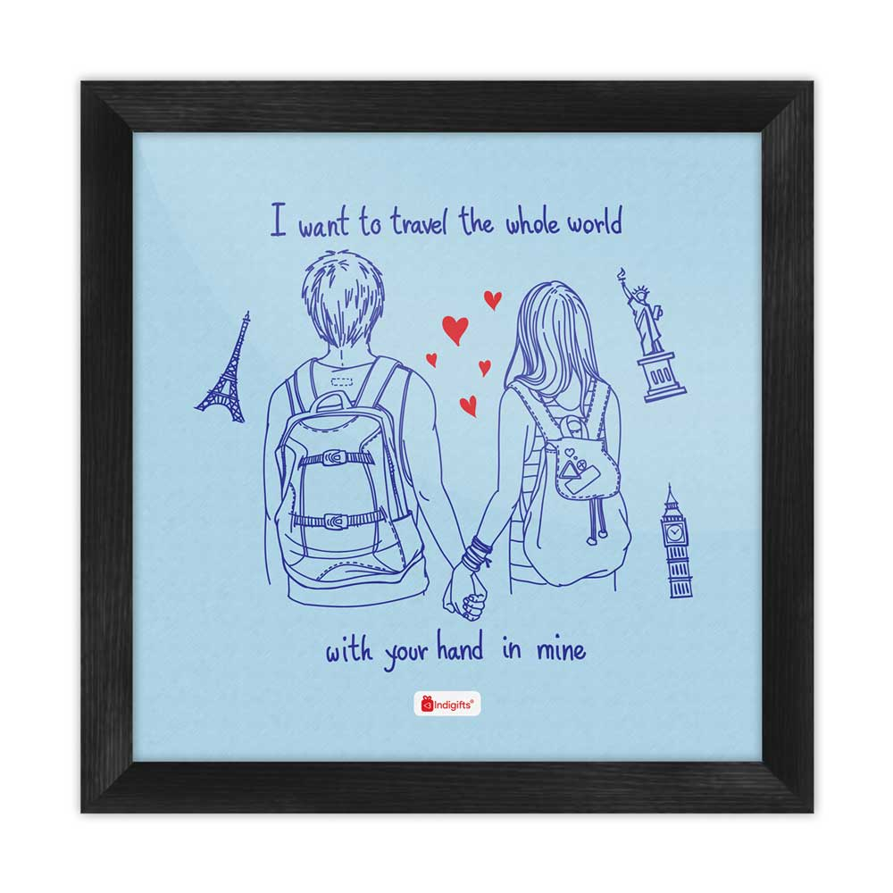 Romantic Young Couple Blue Poster Frame