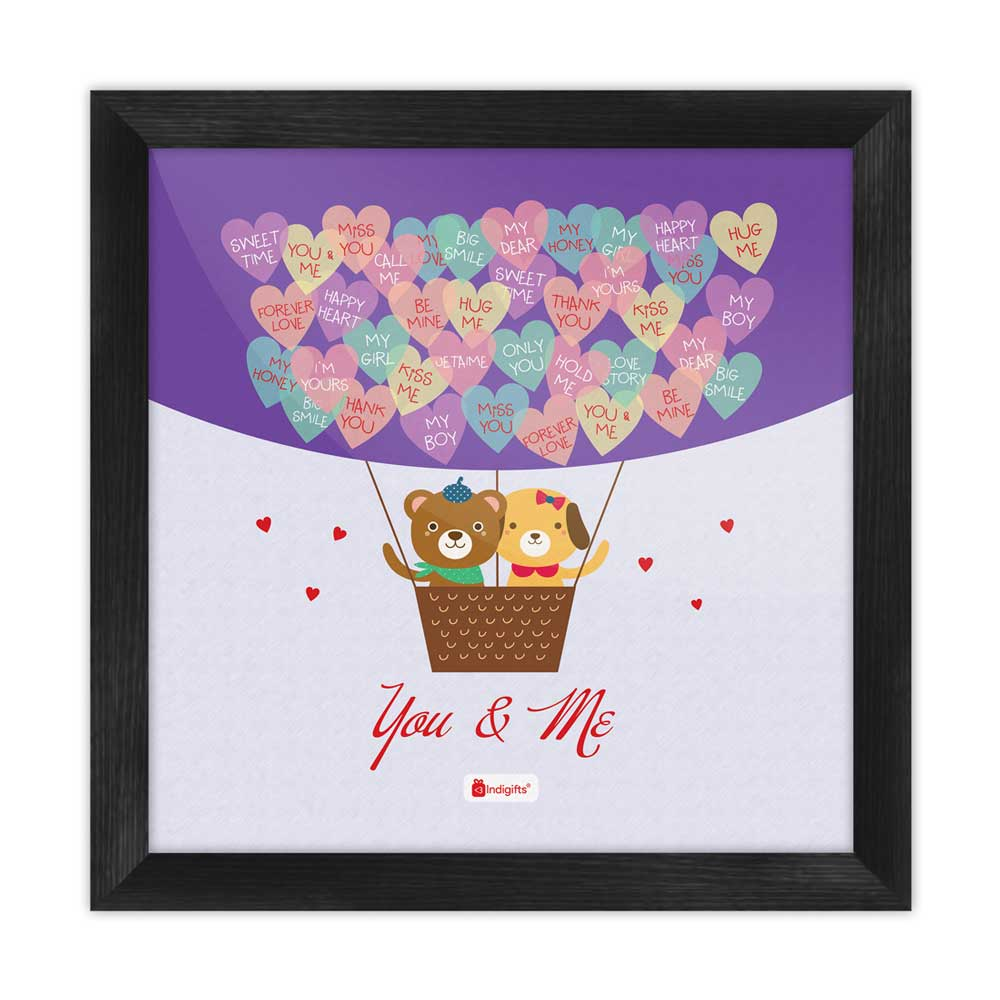 Teddy in Hot Air Balloon with Love Messages Multi Poster Frame