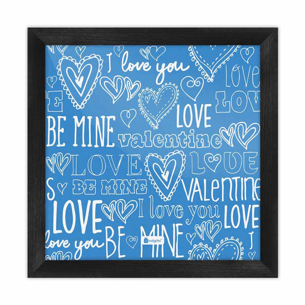 Indigifts Love Expression Seamless Pattern Blue Poster Frame