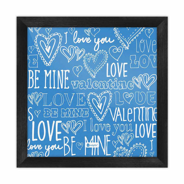 Love Expression Seamless Pattern Blue Poster Frame