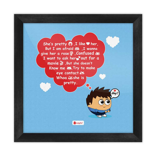 Love Quote Young Boy Love Thoughts Blue Poster Frame