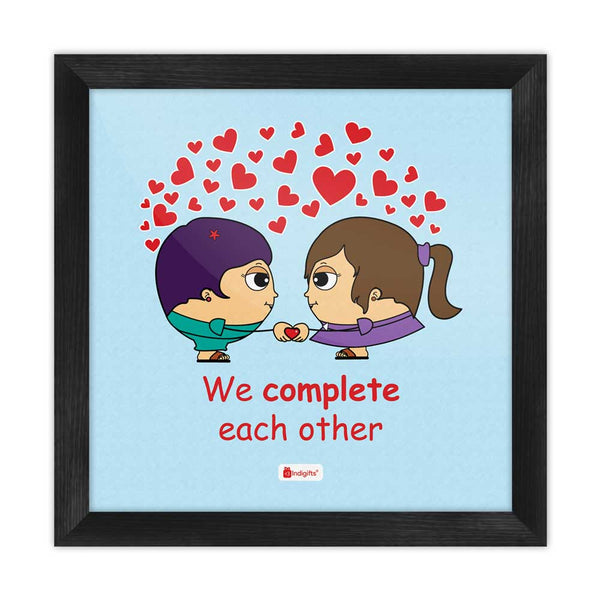 We Complete Each Other Quote Lesbian Couple Illustration Blue Poster Frame