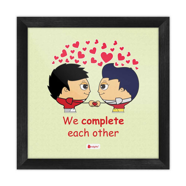 We Complete Each Other Quote Gay Couple Illustration Green Poster Frame