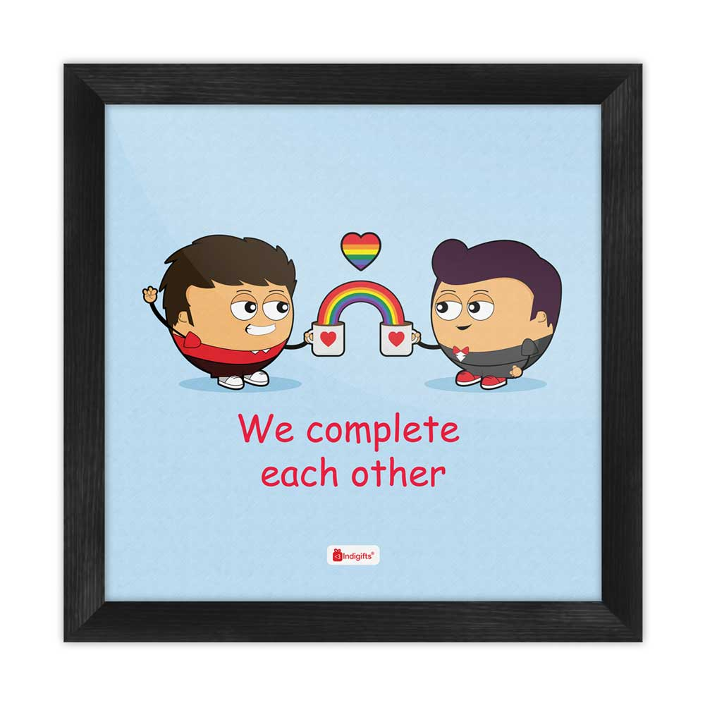 Gifts We Complete Each Other Quote Gay Couple Illustration Blue Poster Frame