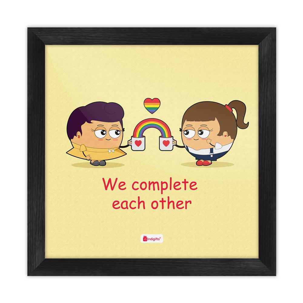 We Complete Each Other Quote Lesbian Couple Illustration Beige Poster Frame