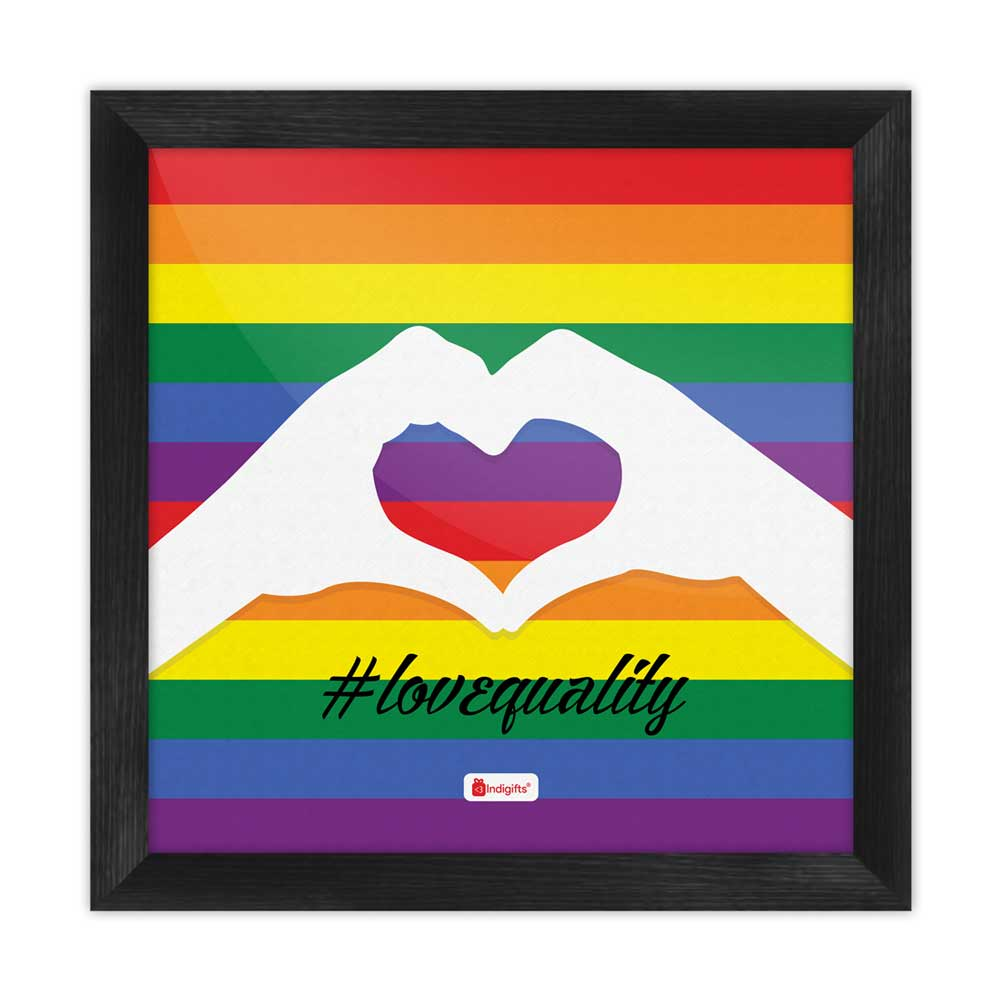 Love Equality Quote Colourful Rainbow Multi Poster Frame