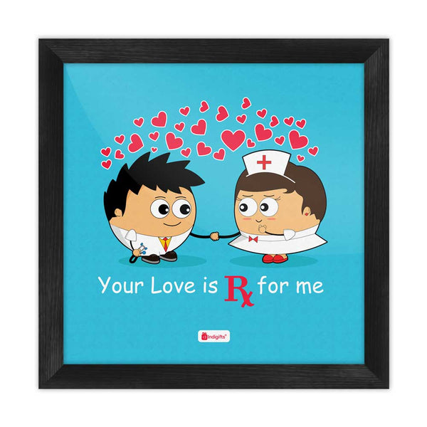 Your Love For Me Quote Couple Love Expression Blue Poster Frame