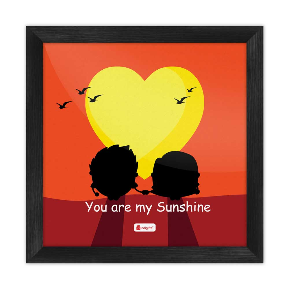 Indigifts You Are My Sunshine Quote Romantic Couple Holding Hands At Dawn Orange Poster Frame