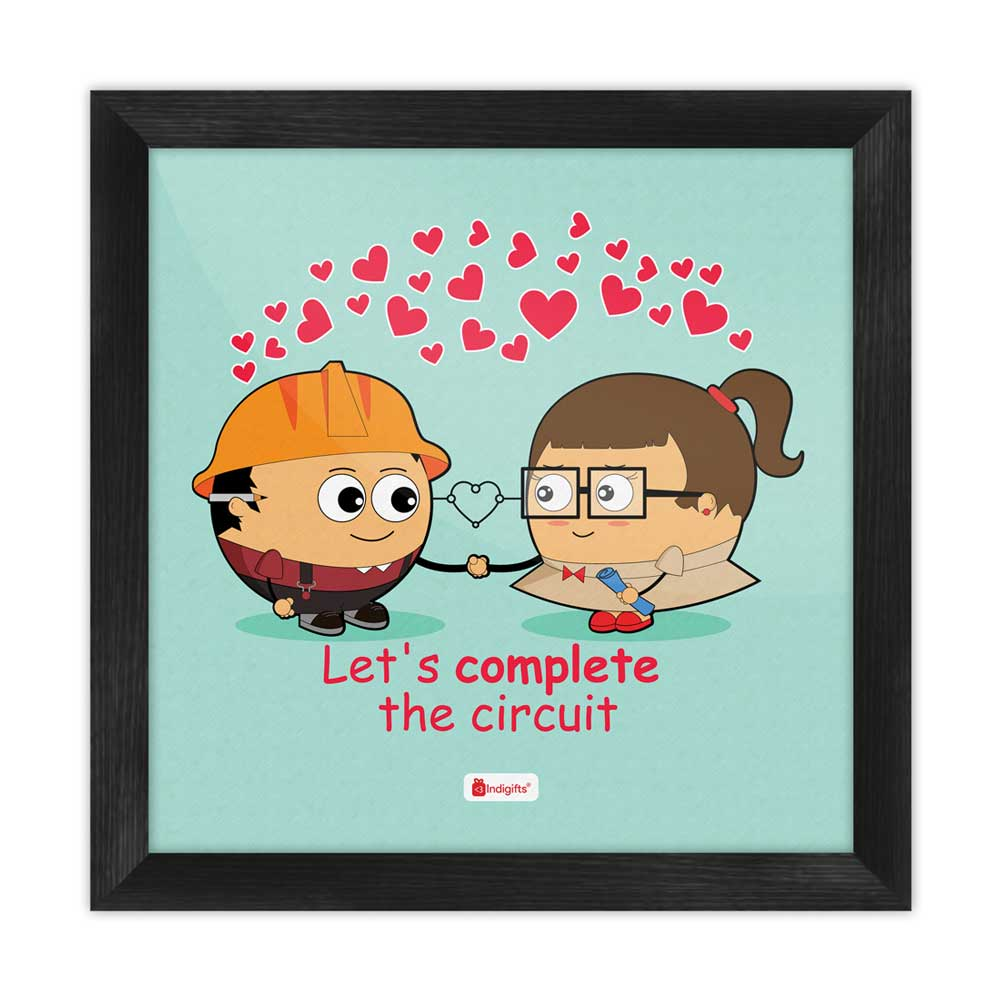 Love Quote Cute Engineer Couple Completing Love Circuit Blue Poster Frame