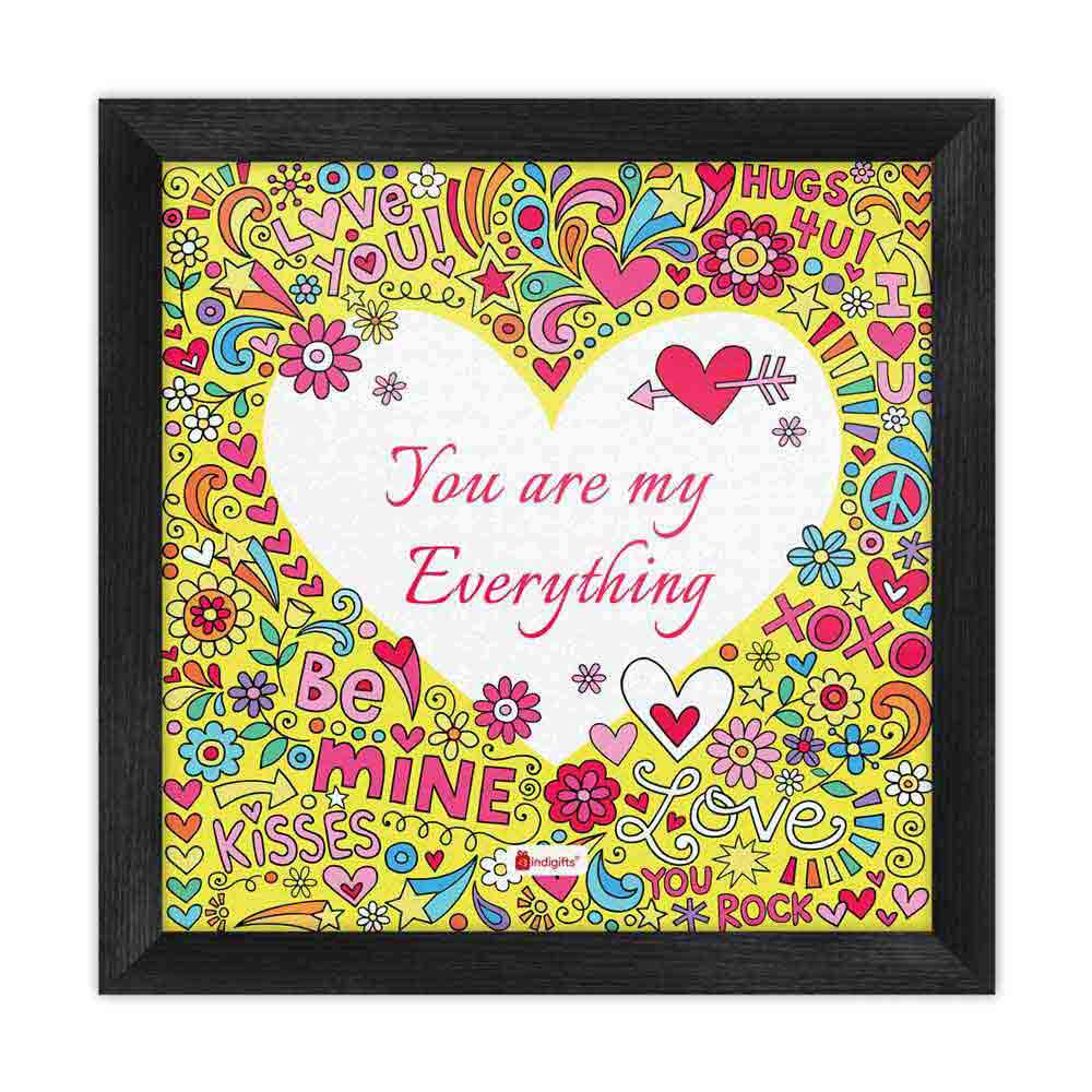 Heart Engraved With Quirky Artwork Yellow Poster Frame