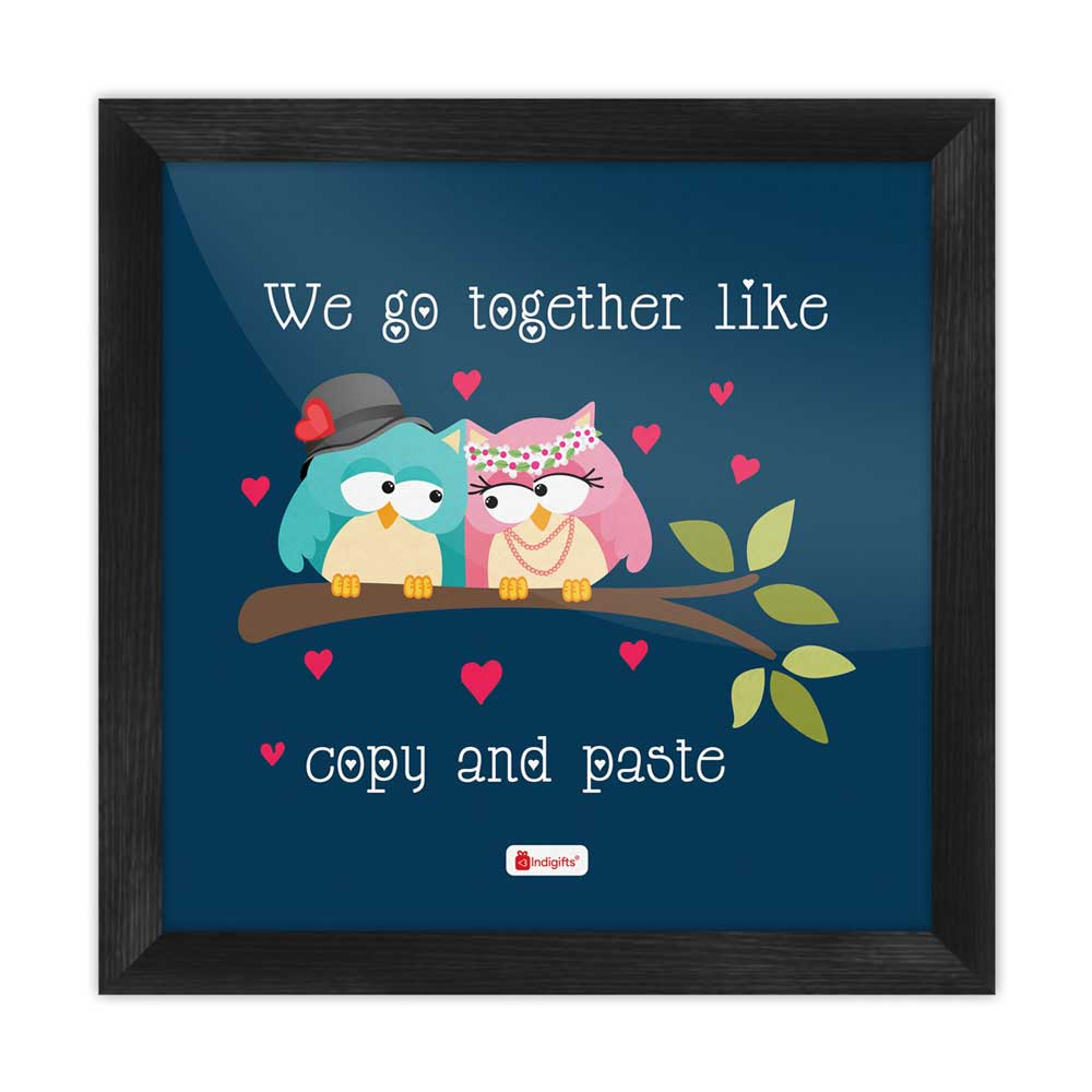 Indigifts Cute Love Birds Blue Poster Frame