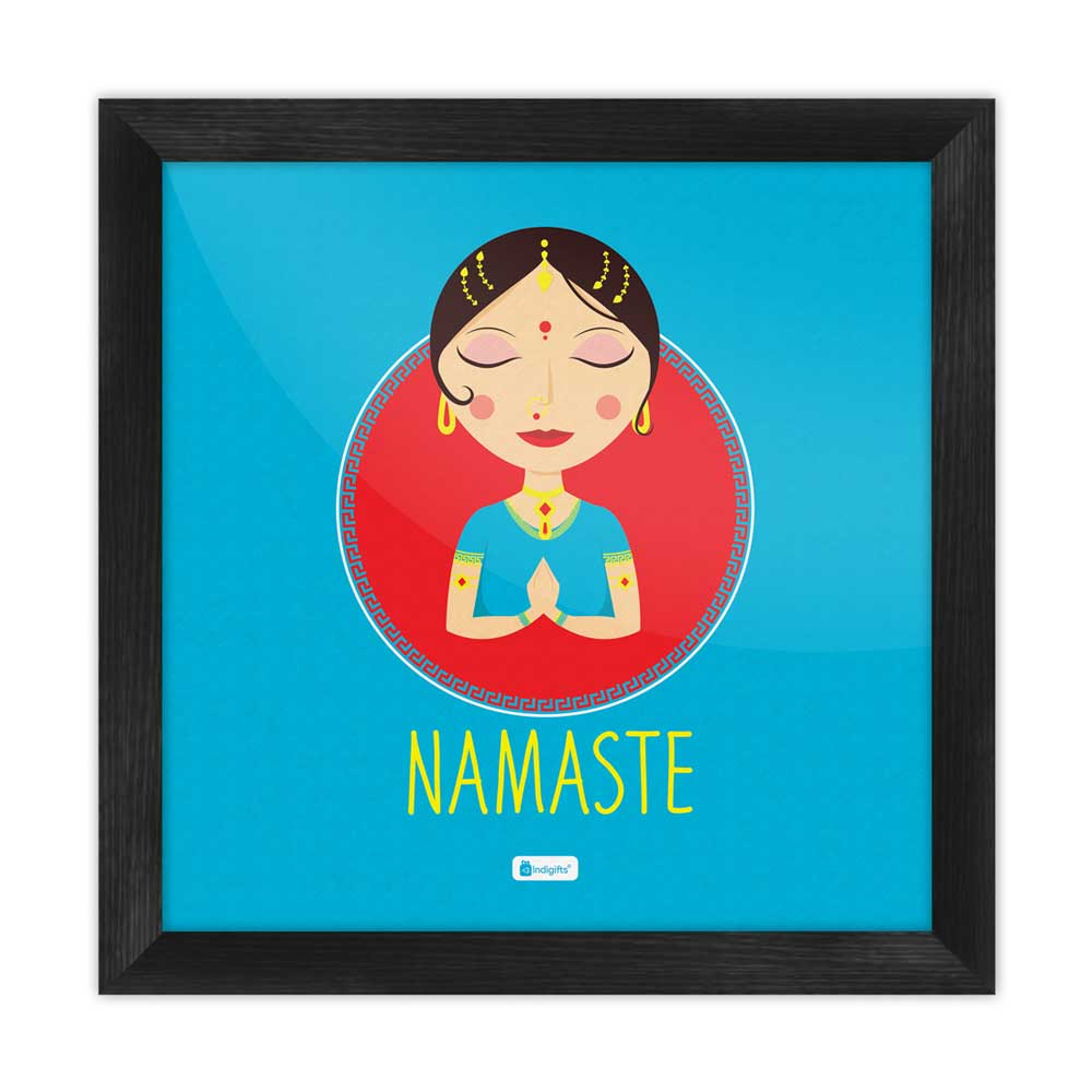 Traditional Indian Woman Hand Greeting Posture of Namaste Blue Poster Frame
