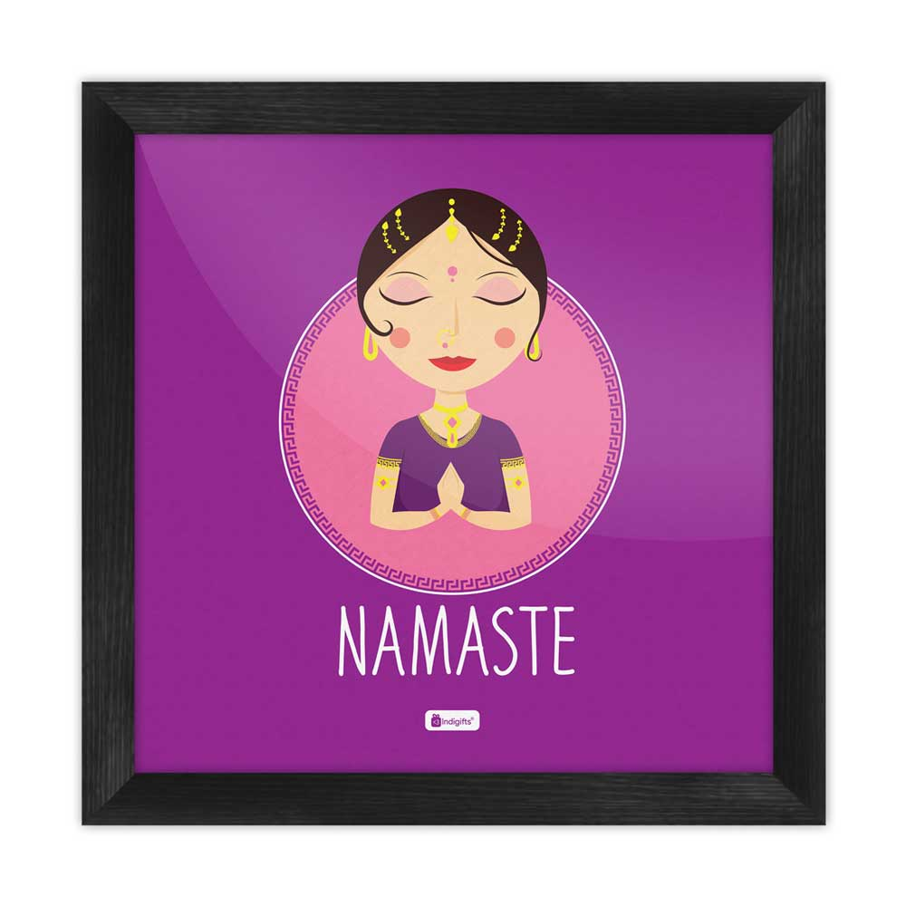 Indigifts Traditional Indian Woman Hand Greeting Posture of Namaste Purple Poster Frame