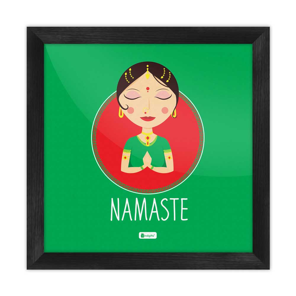 Indigifts Traditional Indian Woman Hand Greeting Posture of Namaste Green Poster Frame