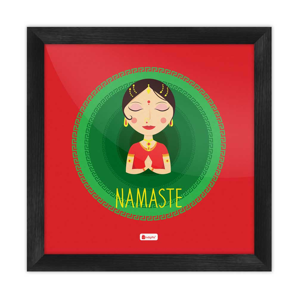 Indian Woman Hand Greeting Posture of Namaste with Blur Circle Background. Red Poster Frame