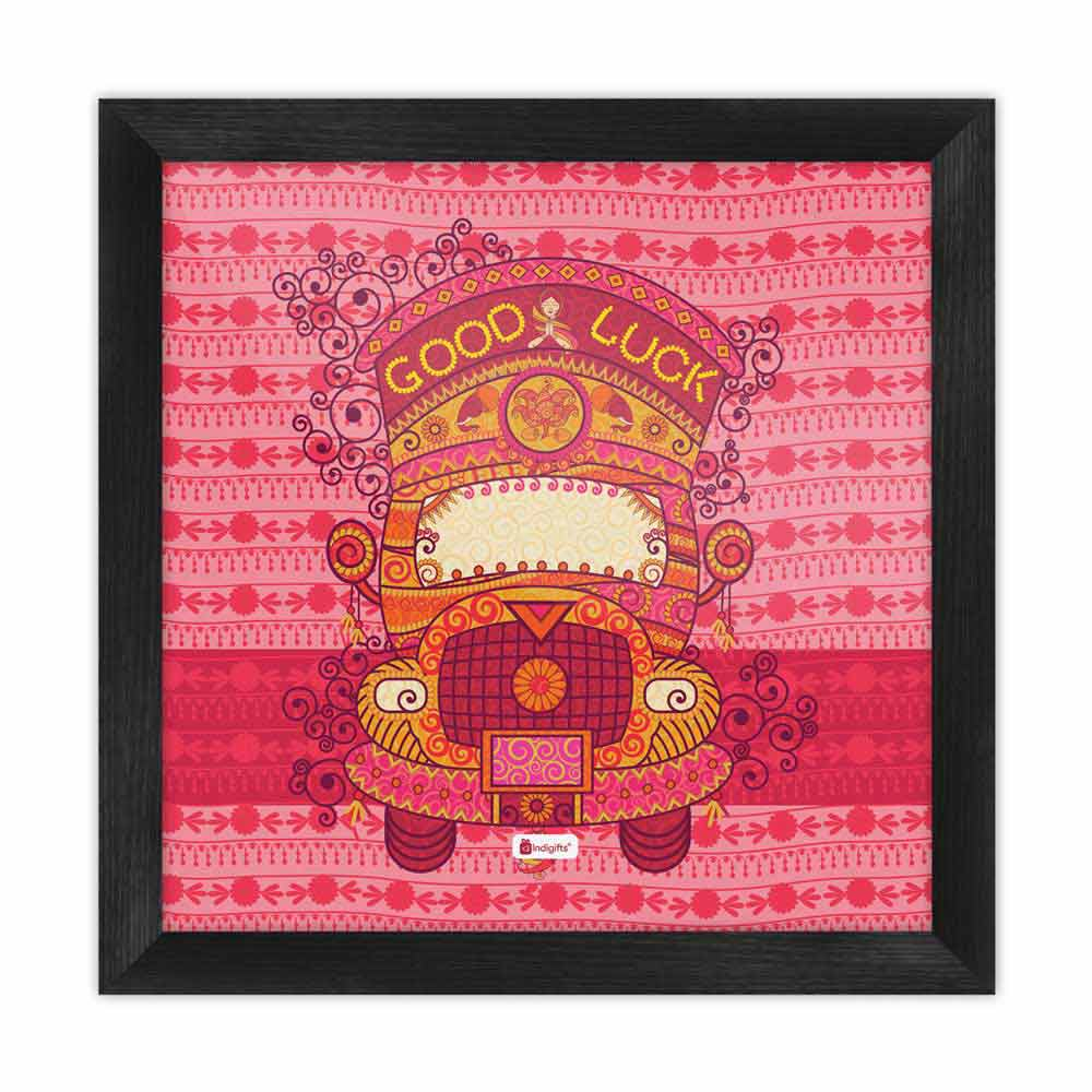 Decorated Truck in Indian Art Style with Ornamental Festive Background Pink Poster Frame