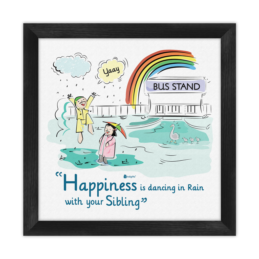 Indigifts Happy Brother Sister Enjoying Rain Multi Poster Frame