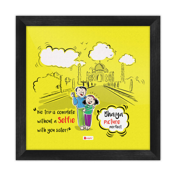 Brother & Sister Taking Selfie Yellow Poster Frame