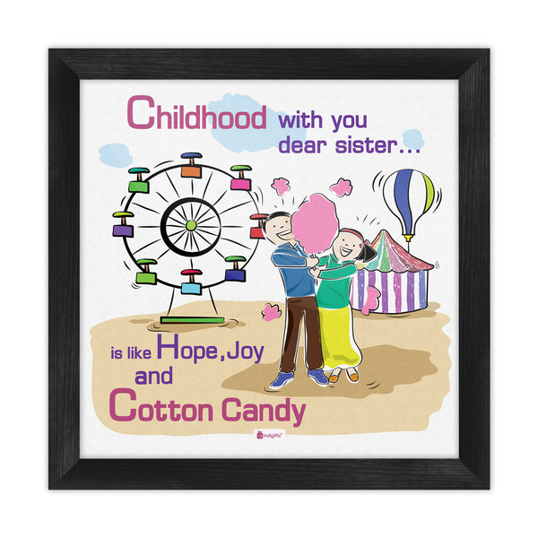 Indigifts Brother and Sister with Cotton Candy Multi Poster Frame