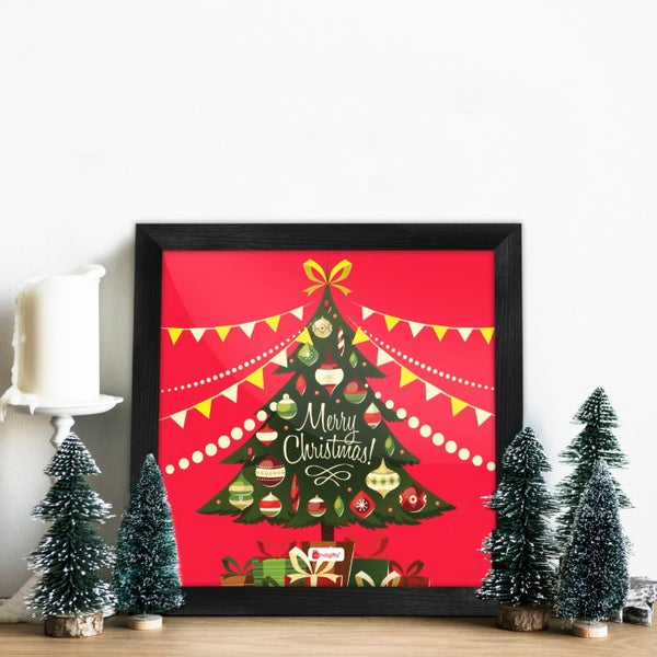 Indigifts Decorated Xmas Tree with Ornaments Poster Frame