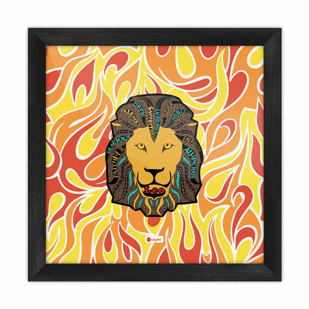 Indigifts Leo Zodiac Multicolor Poster Frame