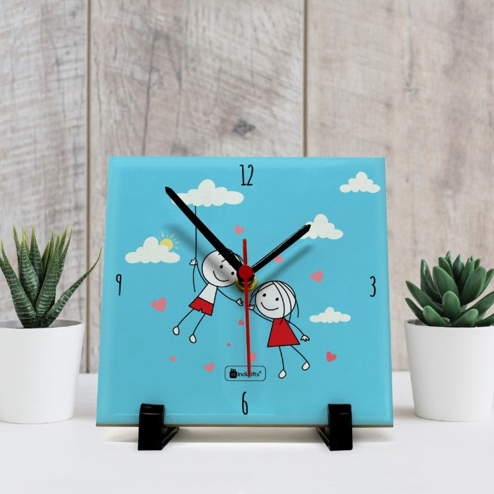 Indigifts Designer Clock for Couples Printed Blue Table Top Clock