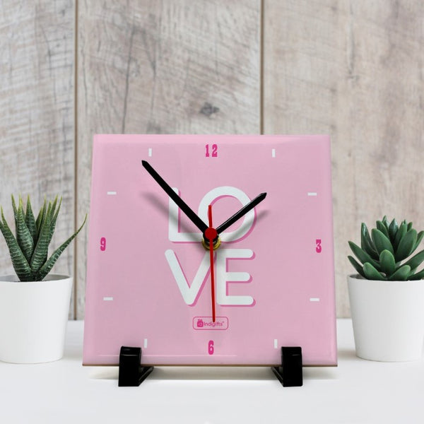 Indigifts Designer Clock for Couples Love Printed Pink Table Top Clock 6x6 Inches