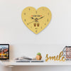 Indigifts Wall Clock for Home Hum Tum Printed Brown Heart Shape Wall Clock