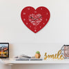 Indigifts Anniversary Gift for Couple Printed Red Designer Heart Shape Wall Clock