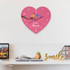 Indigifts Valentine Special Gifts for Couple Love Always Printed Pink Heart Shape Wall Clock