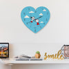 Indigifts Anniversary Gift for Couple Printed Blue Heart Shape Wall Clock