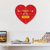 Indigifts Designer Wall Clock for Couples Printed Red Heart Shape Wall Clock