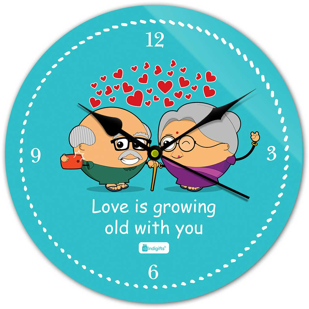 Indigifts Cute Couple Taking Selfie Blue Wall Clock